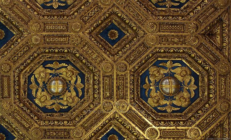 Кружевные потолки в музее Palazzo Vecchio (деталь)